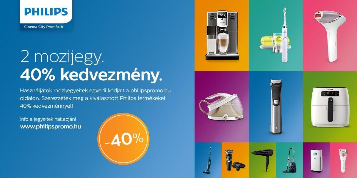  Philips prómóció, 2db mozijegy 40% kedvezmény
